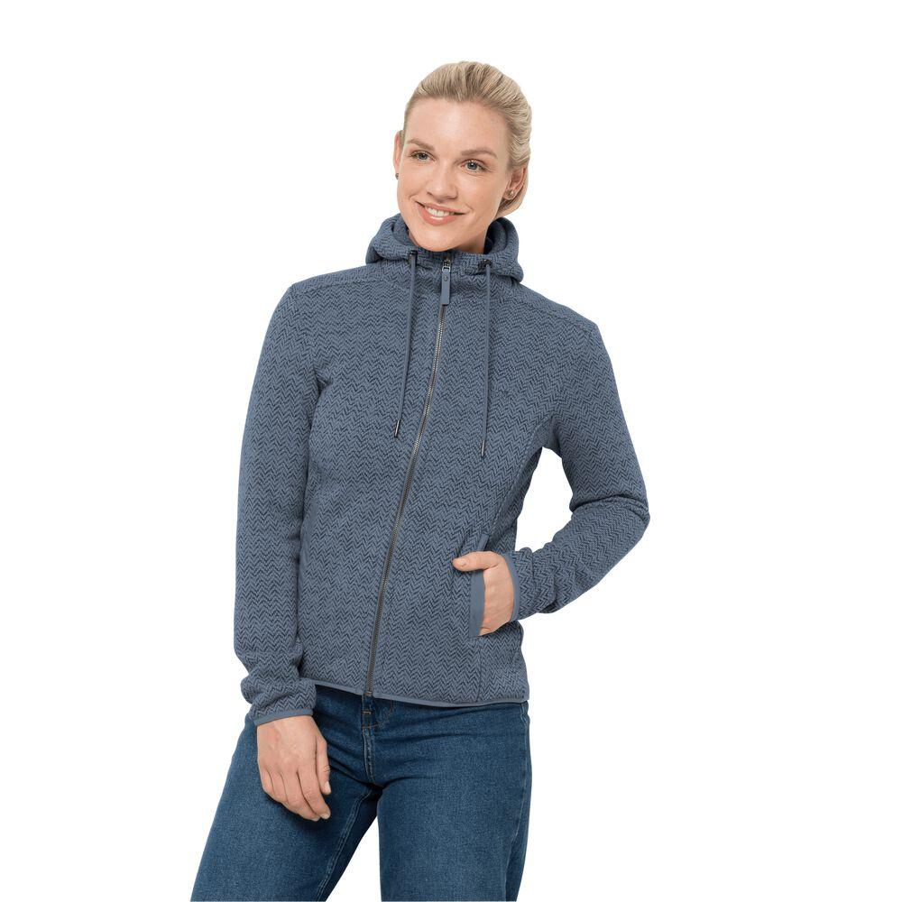 Jack Wolfskin Womens knitted fleece jacket Patan Hooded Jacket Women XL blue frost blue